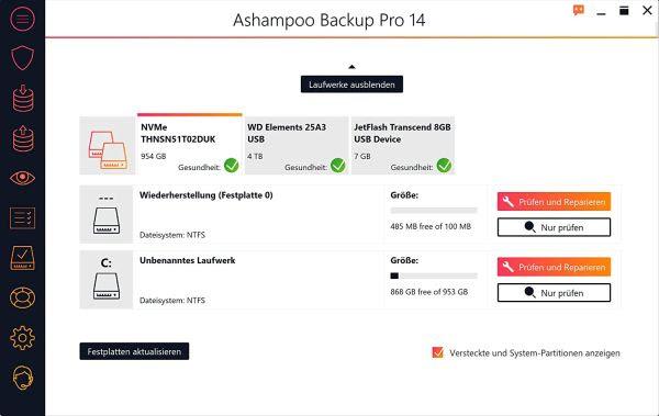 Ashampoo Backup PRO 14 Interface