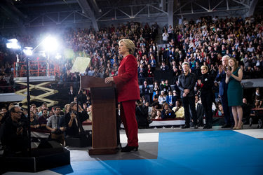 Hillary Clinton campaigning in Raleigh, N.C., early Tuesday. Lady Gaga and Jon Bon Jovi both made appearances at the late-night rally.