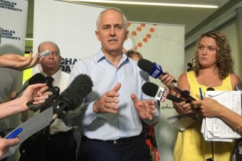 Malcolm Turnbull talks to reporters