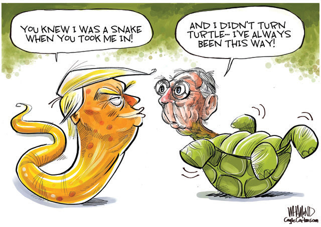 TRUMP, MITCH MCCONNELL, SENATE MINORITY LEADER, ROADBLOCK TO STIMULUS, COVID RELIEF, SNAKE, TURTLE, CORONAVIRUS RELIEF BILL, PELOSI, TAXING, SPENDING, MITCH THE OBSTRUCTIONIST