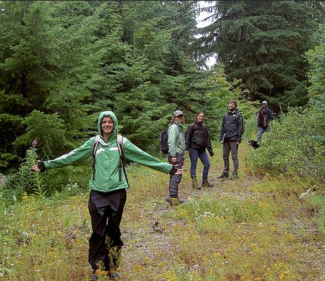 Bark volunteers within a proposed clearcut. Photo by Rowan Baker.