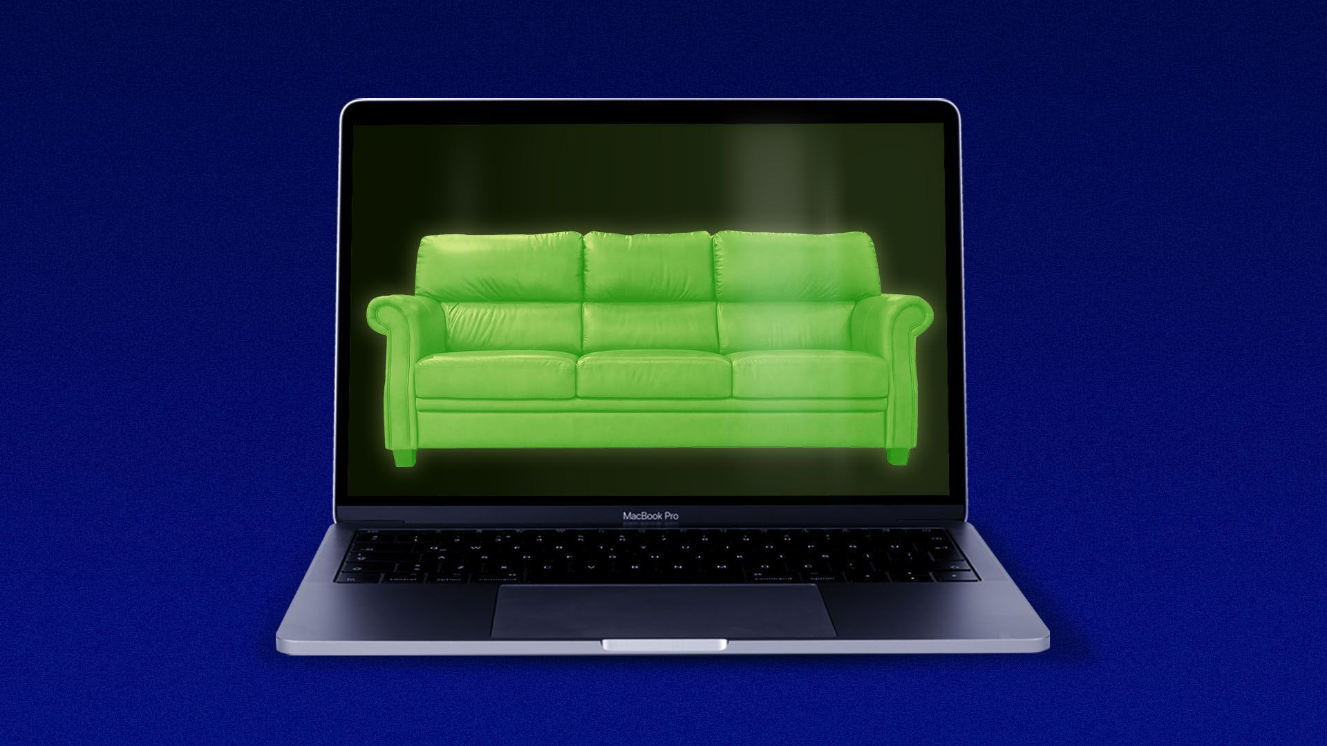 Illustration of a laptop with a couch on the screen