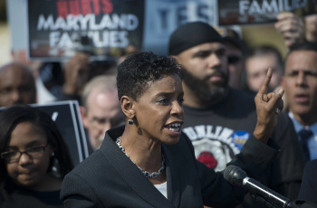 Donna Edwards at a rally. Turn on images to see photo.