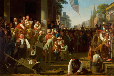 "George Caleb Bingham's ""The Verdict of the People"" (1854–55). Two St. Louis-area women in the arts are fighting to reverse the St. Louis Art Museum's decision to loan the painting for Donald J. Trump's inaugural lunch on Jan. 20."