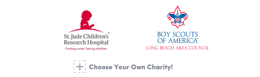 St. Jude Children's Research Hospital, Boy Scouts of America, Long Beach Area Council, and Choose Your Own Charity