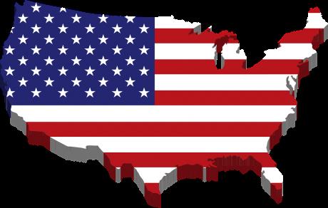 United States Flag Map - Public Domain