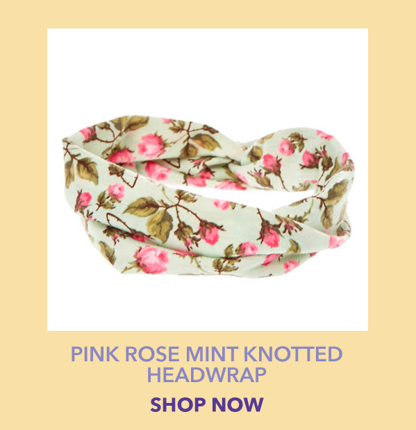 Pink Rose Mint Knotted Headwrap