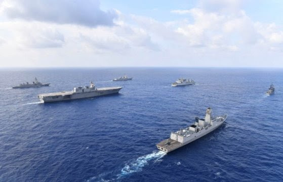 arships from different countries in the South China Sea (Japan Maritime Self-Defense Fo