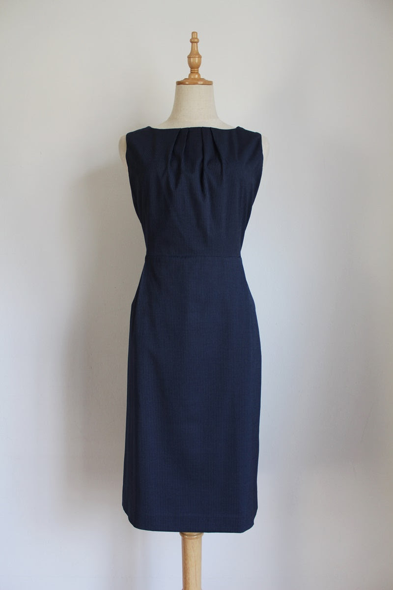 POLO BLUE PINSTRIPE FITTED SHIFT DRESS - SIZE 12