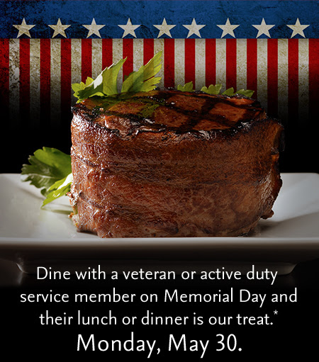 Dine with a veteran or active duty service member on Memorial Day and their lunch or dinner is our treat.* Monday, May30.