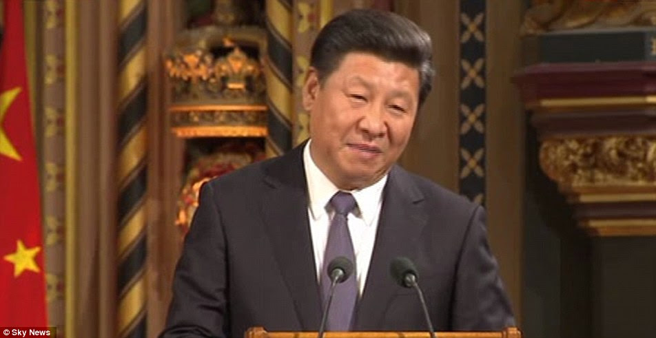 President Xi, pictured, said Britain and China are becoming 'increasingly interdependent' parts of a 'community of shared ideas'