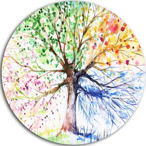 'Four Seasons Tree' Painting Print on Metal