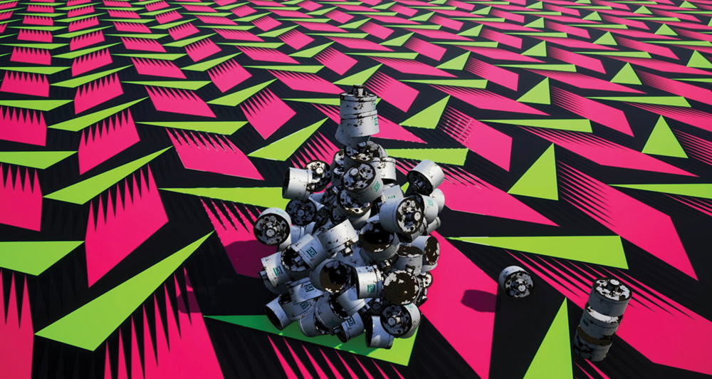 A pattern comprising green and pink triangles and rhombi plus tear gas cans rendered in CGI.