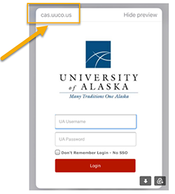 Fake UAOnline login page with cas.uuco.us in the upper corner