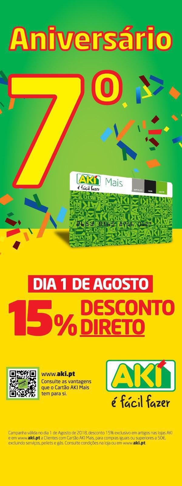 15% desconto direto no AKI » 1 de agosto na sua loja AKI!