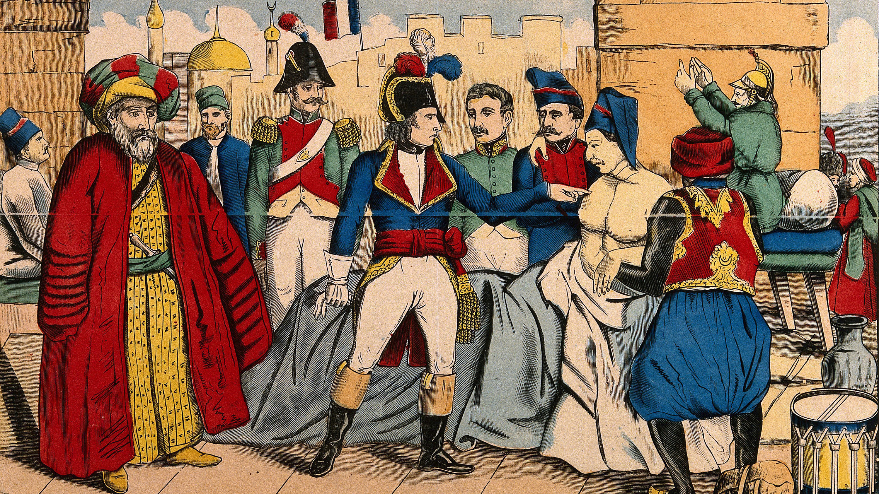 The image is a colorful artist rendition of Napoleon with a plague victim.