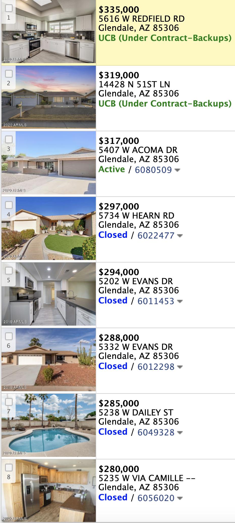 5827 W Hearn Rd Glendale, AZ 85306  comps list