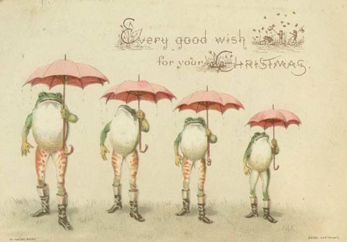 Những chú ếch xanh may mắn trong tấm thiệp này trông... ghê ghê.