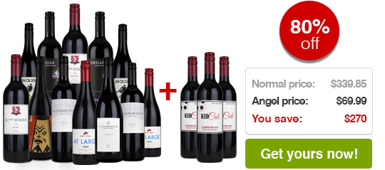 80% off a case of delicious First Class winesNormal price: $339.85 Angel price: $69.85You save: $270Get it now