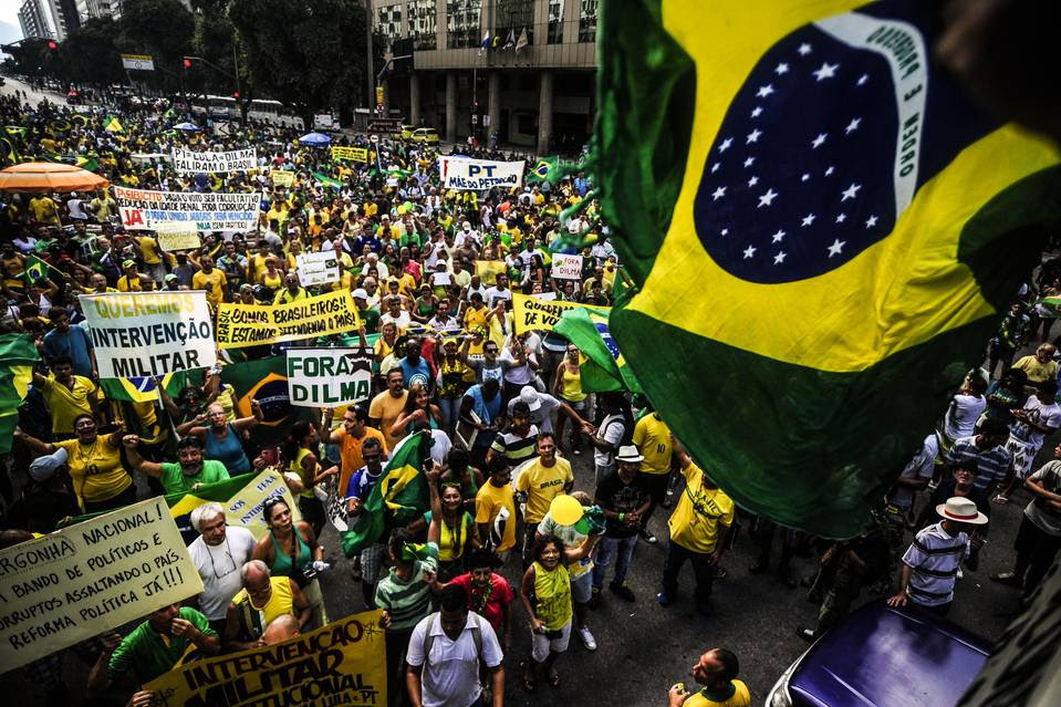 Thousands took to the streets in Rio de Janeiro in March to protest alleged corruption involving executives of state-controlled oil company Petrobras and politicians.