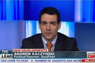 Andrew Kaczynski appearing on CNN in 2013. Mr. Kaczynski is one of four people from the BuzzFeed politics team hired away this week to work for CNN.