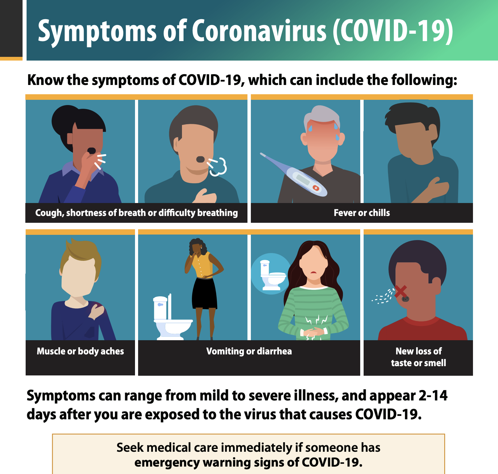 Graphic from CDC illustrating the symptoms of Coronavirus