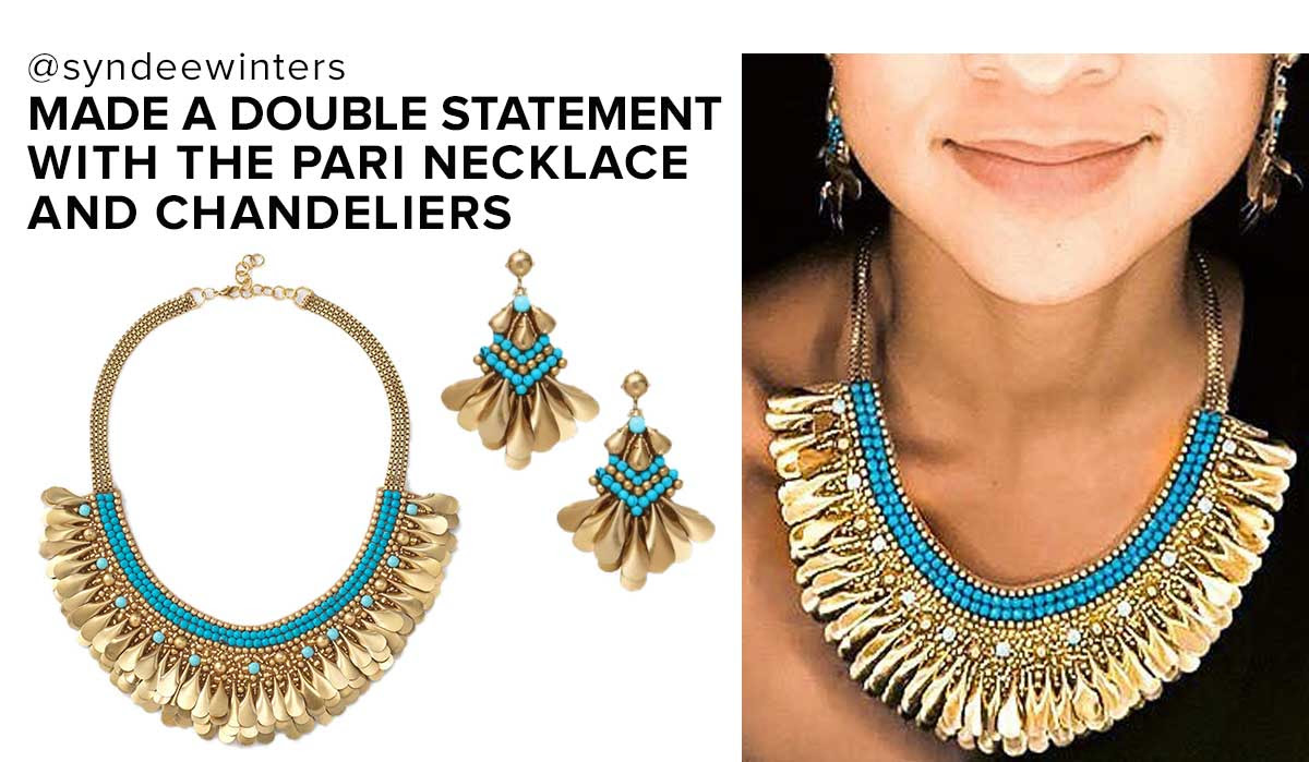 Statement Pari necklace & chandeliers