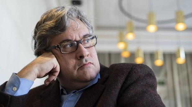 Juan Manuel de Prada , en un momento de la entrevista, en Madrid