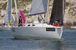 J/109 sailing off Isle of Wight- Round Island Race