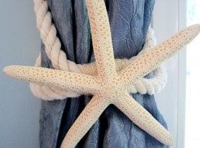 Beach Decor Starfish Tie Back, Curtain Tie Back, Nautical Decor Starfish Curtain Tieback, Beach House Decor - White Finger or Brown Sugar