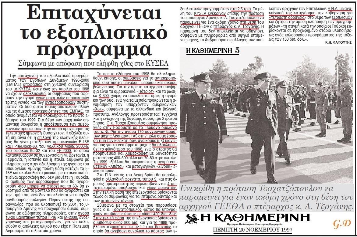 ΕΞΟΠΛΙΣΤΙΚΑ 1997 - 1