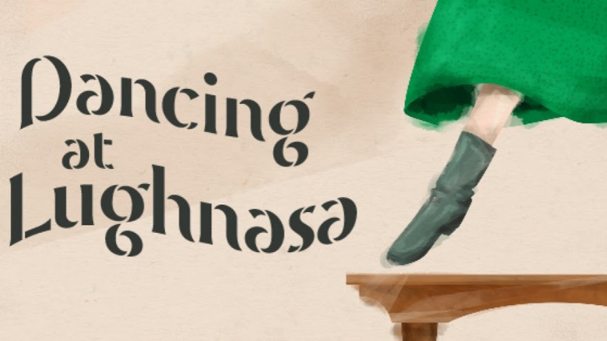 Dancing at Lughnasa, booted foot pointing from under a green skirt