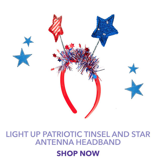 Light Up Patriotic Tinsel and Star Antenna Headband