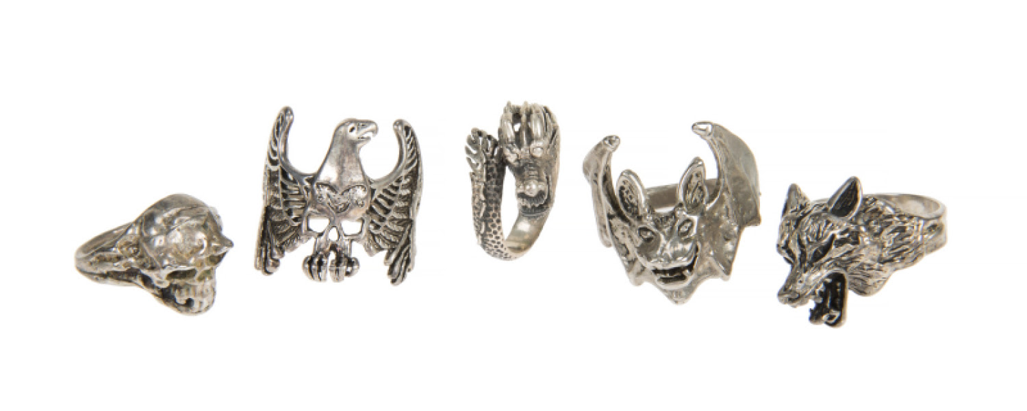 RONNIE JAMES DIO SILVER AND SILVER-TONED RINGS