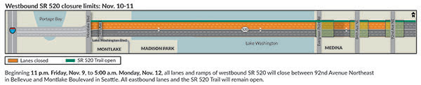 Map of the November 2018 westbound s r 520 closure between ninety second avenue northeast and montlake boulevard.