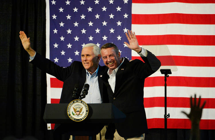 Vice President Pence and Virginia GOP gubernatorial contender Ed Gillespie campaign together on Saturday night. (Sara D. Davis/Getty Images)