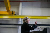 Hillary Clinton spoke at Futuramic Tool & Engineering Company near Detroit on Thursday.