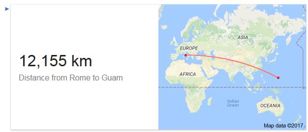 De acordo com o Google a distância entre Roma e Guam é de 12.155km.