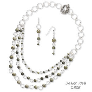 Triple-Strand Necklace and Earring Set (Design Idea CB0B)