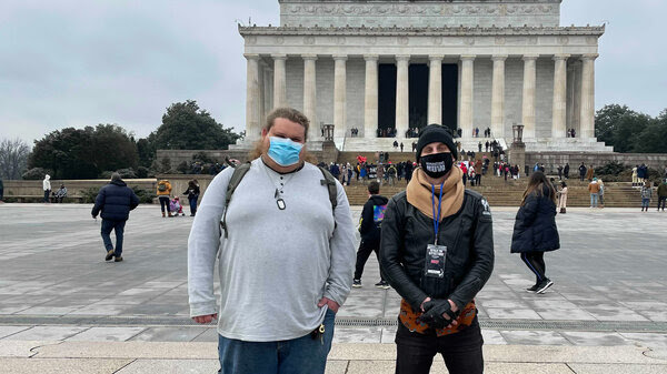 Distant cousins Cody (left) and Andrew meet in Washington, D.C. Cody is a member of a Three Percenter-affiliated militia group, and Andrew is an organizer with Black Lives Matter activists. The two connected on Facebook and have gotten to know each other while researching their ancestry.