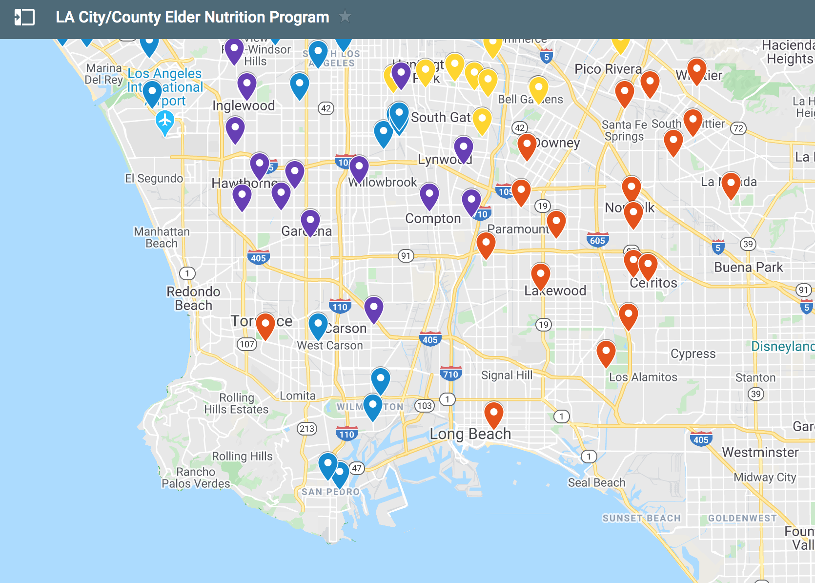 Map of Senior Centers and Resources