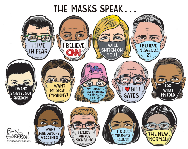 cartoon mocks mask wearing