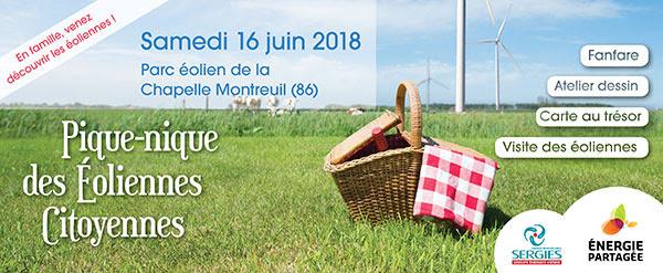 Pique-nique des éoliennes citoyennes à la Chapelle-Montreuil (86) samedi 16 juin