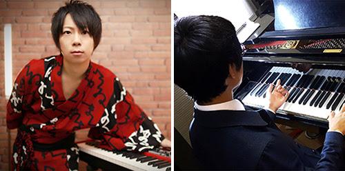 「紅い流星」(左)と「よみぃ」(右) それぞれとのピアノ連弾 (伴奏データ提供:マツケン先生)