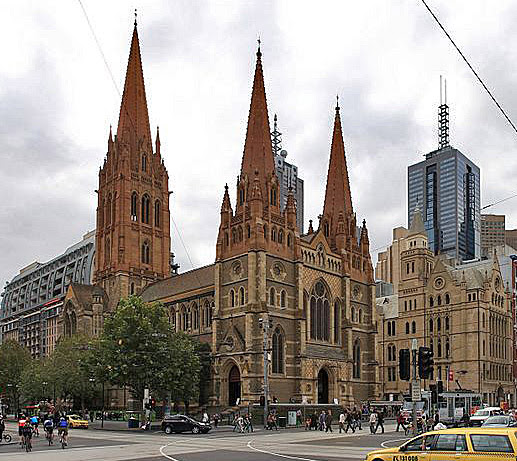 St. Paul's Cathedral as seen from Flinders Street Station, Melbourne, Australia. (Wikipedia)