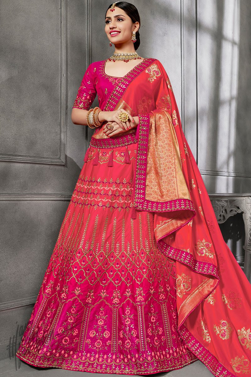 Magenta and Red Ombre Silk Lehenga Set