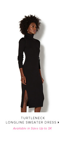 Shop TURTLENECK LONGLINE SWEATER DRESS