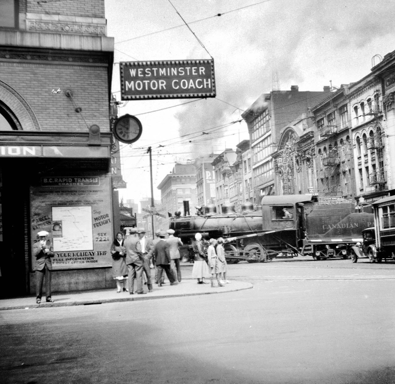 CPR train crossing Hastings at Carrall, 1932