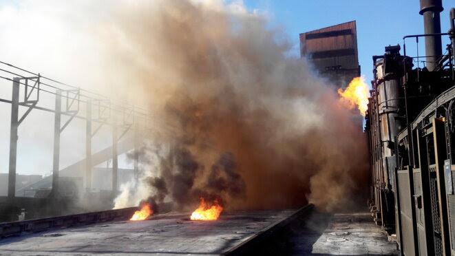Usine ArcelorMIttal à Fos-sur-Mer - Cokerie. © NC