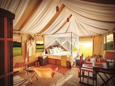 Tent Interior at Sangam Nivas Camp TUTC Kumbh Mela